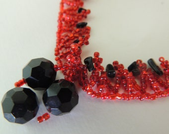 Red and Black Seed Beaded Necklace