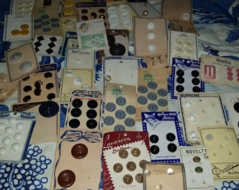 Vintage button lot 1930's-1950's. Over 100 buttons, 40 cards.