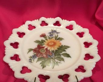 Vintage Floral Milk Glass Plate Circa 1960's Kemple 9.5 in