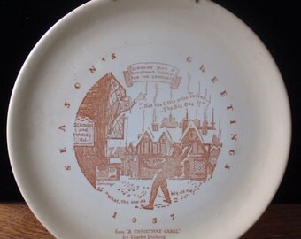 """Vintage Seasons Greetings 1957 """"A Christmas Carol"""" Charger Plate with holder"""