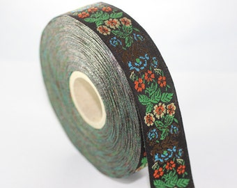 50 mm Green Floral Embroidered ribbon (1.96 inches) -  Vintage Jacquard -Floral ribbon - Sewing trim - Jacquard trim
