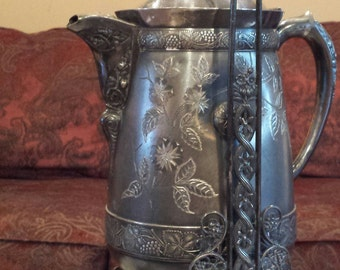 1880's Victorian Silverplate Water Tippler Tilting Water Pitcher Pairpoint Mfg. Co.