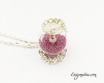 Necklace with Crystal and Fuchsia micropearls dome