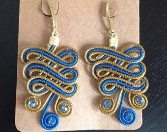 Blue Golden Grass Earrings