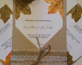 Beautiful fall rustic wedding invitation suite!