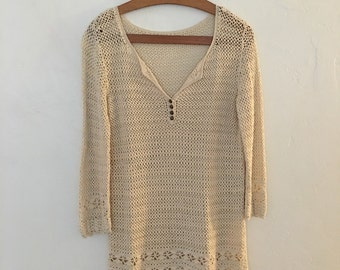 Crochet ivory top with brass buttons