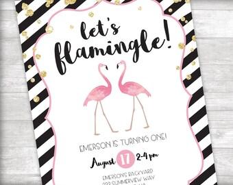 Let's Flamingle! Flamingo Birthday Invitation Printable