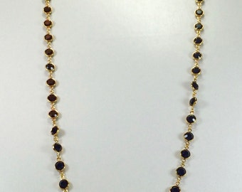 "Raindrops Necklace - Jet/Gold 36"" Swarovski crystal"