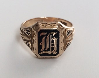 Vintage 10K Gold Class of 1942 Signet Ring with initial G, Size 6.5, Herff Jones