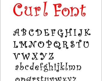 Curl Letters svg eps dxf png Cut file for Silhouette or Circuit- Curl Font Letters for cutting-Not a downloadable font-