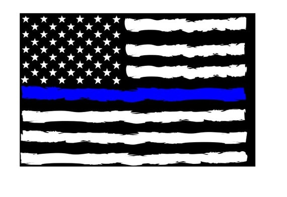 Commercial Use SvgGrunge Thin Blue Line Flag SVG
