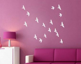 Flock of birds wall decal - Flying Birds- Flying Birds - Flock of birds wall stickers - Set of 20 Flying Birds