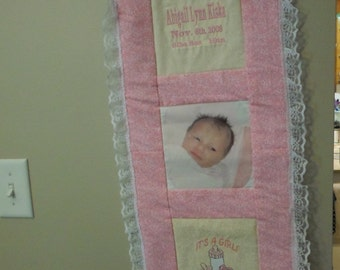 Personalized baby announcement wall hanging