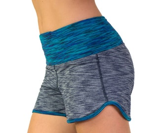 Spring Sale! Blue & turquoise comfy stretch running shorts comfortable gym shorts women's sports shorts pocket with moisture-wicking fabric