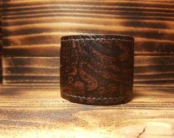 Brown Hand Made Leather Slap Bracelet