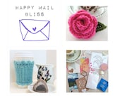 Happy Mail Bliss - From Alaska! Crochet, Knit, Gift, Gift Idea, Pretty Paper, Bunting, Photo Prop, Tea, Confetti, Fun, Friendship Gift