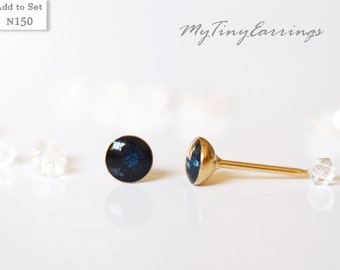 Dark Navy Blue 4mm Tiny Stud  Earrings Almost Black Color Round Epoxy Resin Mini Gift for Her - Gold Plated Stainless Steel Posts 150