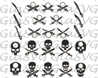 Pirate Sculls and Swords SVG, swords monogram, sword silhouettes, scull silhouettes, ready to cut for Cricut | Silhouette etc, png, eps, DXF