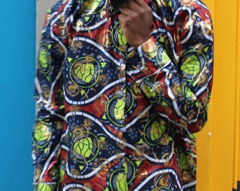 African Shirt Longline - Allagi Shirt - Gold Shirt - Fully Buttoned - Unisex - Wax print Shirt - Ankara Shirt - Festival Clothing
