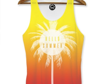 Hello Summer Orange Red Vest Mens Palm Party Holiday Singlet Sleeveless Tank PP106