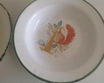 Cute Vintage Children Enamel Soup Plates set of two
