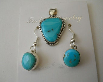 Morenci Turquoise Pendant and Earring Set