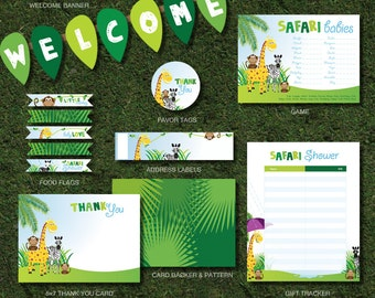 Safari Baby Shower Printable Party Package, Instant Download