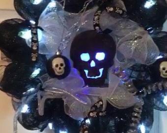Halloween skelton light up wreath.