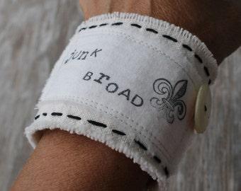 Join the Junk Broad Brigade...OOAK Fabric Cuff Bracelet by Valentina...Fleur de Lis...MOP Button...Crown