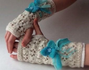 Handknit fingerless mittens, lace fingerless gloves - Snow Queen