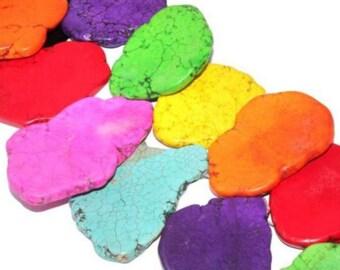 Freesize Muilti-color Slab Turquoise Gemstone Loose Bead 4pc