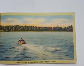Vintage Highland Lake, Winsted, Conn. Post Card