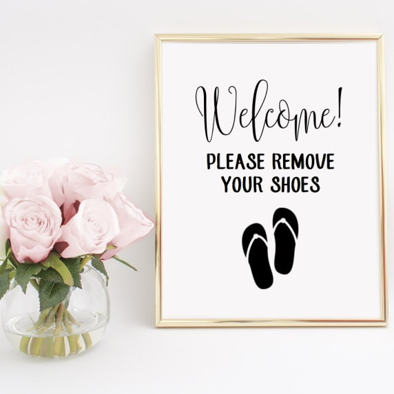Please Remove Your Shoes Flip Flop Sign Home Decor Printable