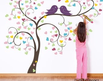 Birds falling in love heart tree wall decal, nursery wall decal, baby wall decal, kids room wall decal, bird wall decal, nursery decor