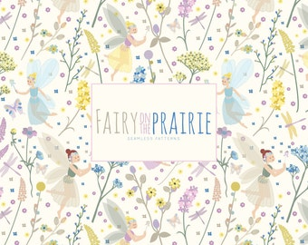 Fairy on the Prairie Pattern Set - Seamless Patterns, Digital Paper, Scrapbooking Paper, Fairies, Wild Flowers, Floral, Commercial Use
