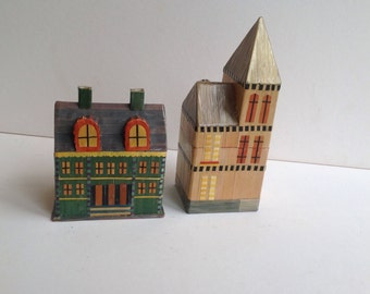 Boxes in the shape of buildings