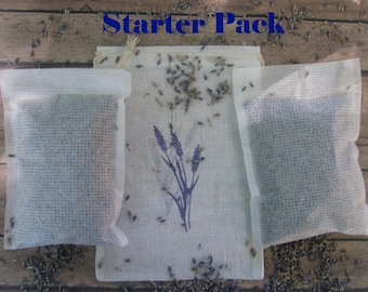 Lavender Dryer Sheet - Set of 6 Sachets and 2 Muslin Bags Start Pack - Clean, fresh, and calming - Eco friendly Laundry