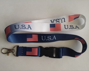 USA flag ombre lanyard