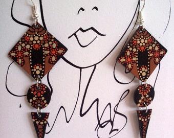 Mobile earrings in 3 parts + card portrait