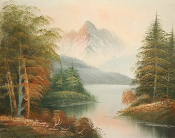 Mountain river landscape oil painting