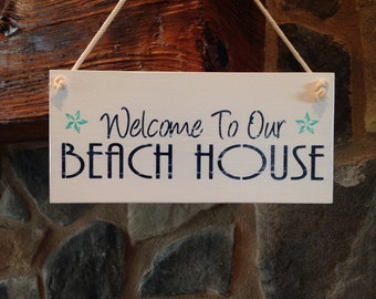 Welcome Sign, Beach Cottage Sign, Beach House Decor, Coastal Sign