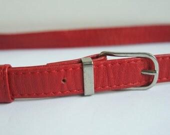 Vintage Women's Red Leather Belt, Skinny Leather Belt, Thin Leather Belt
