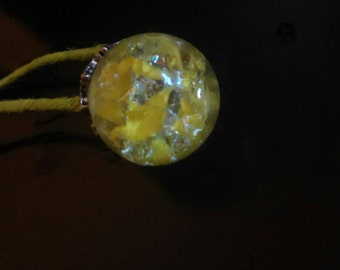Yellow Dragon Egg Glass Pendant