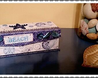Small Nautical/beach decorative keepsake box/beach decor/memory box