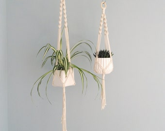 The Spiral Crown Macrame Plant Hanger // Natural Cotton // in 5 sizes! NEW CHUNKY STYLES