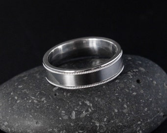 Simple Mens Wedding Band - Custom Setting - Milgrain Band, Flat