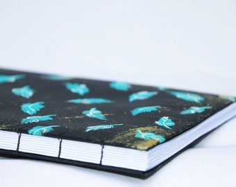 Aqua Feathers Hand Bound Book - Journal, Sketchbook, Photo Album, Art Journal, Sketchbook, Diary, Bound Book, Book binding, Feathers, aqua