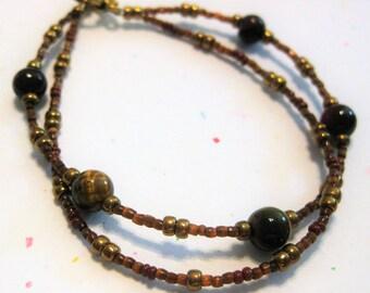 Tiger's eye and glass bead bracelet