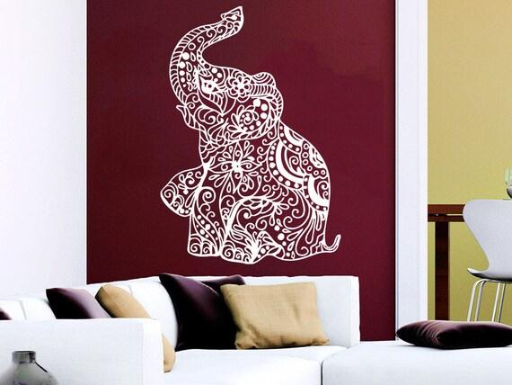 Wall Decal Elephant Vinyl Sticker Decals Lotus Indian Elephant