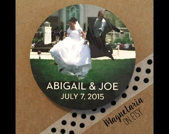 Wedding Photo Save the Date Magnets, 2.25 inches round